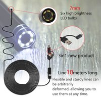 3 en 1 10M 6 LED imperméable à l'eau 7MM Type-C caméra d'inspection par endoscope portable pour ordinateur portable HD caméra imperméable HD 6 lampe à LED réglable