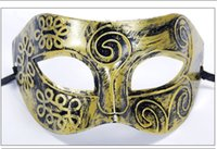 pedir mascarillas al por mayor-El mejor regalo Halloween Gold Silver Bronze Mask Men Half Face Flat Carved Mask PH021 mezclar orden según sus necesidades