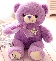 Wholesale Girl Sweet Teddy Bear - Super cute 1pc 45cm cartoon sweet bowknot lavender teddy bear plush doll home decoration stuffed toy children baby girl gift