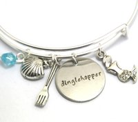 Wholesale little mermaid charms - 12pcs Dinglehopper bracelets Little Mermaid Dinglehopper Inspired bracelets charm bangles silver tone