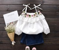 Wholesale Spring Blouse Flower - 2017 Spring Summer Baby Girls Sun-Top Flowers Embroidery Cotton Tops Blouse Slash Neck Kids Florals White Tshirt Children Blouses Clothing