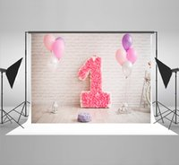 Wholesale Brick Wall Photography Backdrop - 7x5ft(210x150cm) Pink Flowers 1st Birthdays Photography Background White Brick Wall Backdrop for Children Birthday Party Photo Studio