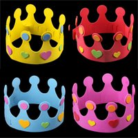 Wholesale Eva Diy Crown - Cool Party DIY EVA Crown Cap Children's day Birthday Party Performance Show Hat Decorations Kids Birthday DIY Hat 6 Colors