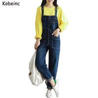 Wholesale Jumpsuits Jeans Denim For Women - Vintage Boyfriend Denim Jumpsuits for Women with Large Pockets Jeans Salopette 2017 Plus Size Female Overalls New Loose Bodysuit
