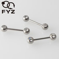 G23 Titanium 16g Double Gem Barbell Nipple Ring Body Piercing Jóias Tongue Stud