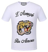 Look Summer Fashion hombres camisetas casuales Tiger L'Aveugle Par Amour manga corta polos hombres Top blanco negro XXXL