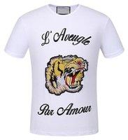Wholesale Black Par - Look Summer Fashion Men's Casual TShirts Tiger L'Aveugle Par Amour Short Sleeve Polo Shirts Mens Top White Black XXXL