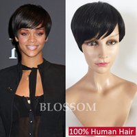 New Arrival Rihanna Hairstyle Perruque de cheveux humains Straight Short Pixie Cut Wigs For Black Women Full Lace Front Bob Hair Wigs