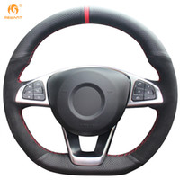 Wholesale Sport Steer - Mewant Black Genuine Leather Black Suede Car Steering Wheel Cover for Mercedes-Benz C200 C250 C300 B250 B260 A200 A250 Sport CLA220