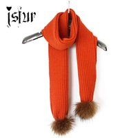 Wholesale real wool scarves - Wholesale-2015 New Classic Long Scarves Women Stripe Pattern Knitted Wool Scarf Wtih Real Raccoon Fur Pompom Winter Neck Wear Accessories