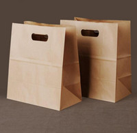 Wholesale Cake Bread Boxes Wholesale - 50pcs lot Brown Kraft Paper Cake Paper Bags Box Food Packaging Jewelry Bread Candy Party Bags For Boutique Cookie Handle. 28x15x29cm