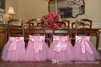 sandalye dekorasyonları için tüller toptan satış-Örnek Custom Made 2017 Saten Tül Tutu Sandalye Romantik Sandalye Sashes Kapakları Güzel Moda Düğün Süslemeleri