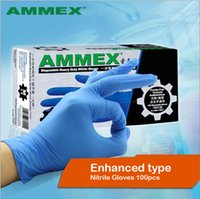 Wholesale Nitrile Gloves Blue - AMMEX disposable nitrile latex rubber thick blue clean dust-free food laboratory industrial hospital gloves