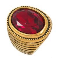 Wholesale around circle - Stainless steel punk vintage jewelry wemen circle around with red stone ring GIFT FOR BROTHERS SISTERS 13w38