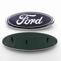 Wholesale Car Alloy Emblem Logo - High Quality background 23*9cm Auto Car Emblem Badge ABS+Aluminum Hood Front Rear Trunk Logo for Ford Edge Explorer