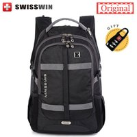 "Wholesale 17 Laptop Backpack - Wholesale- Swiss Brand Travel Backpack 17"" laptop Backpacks For Men Large Capacity Fashion School Bagpack for Teenage Boy Sac a dos"
