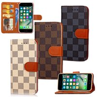 Wholesale Leather Cellphone Holsters Iphone - For iphone 7 case LV Card Holder Wallet holster lattice type cellphone protective sleeve 7PLUS customized cell phone cases free shopping