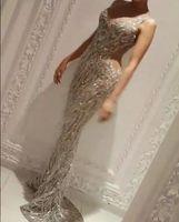 Wholesale Tassel Graduation Dress - Evening dresses 2017 Yousef aljasmi Zuhair murad Labourjoisie Charbel zoe Silver Mermaid Long dress Off shoulder Tassels Crystals