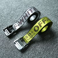 Wholesale Sexy Free Women Men - OFF White Yellow Letters Logo Belts Unisex Sexy Hip Hop Punk Men Women 2Meter Canvas Belt Fashion Kanye West Rihanna Gigi Hadid Stars