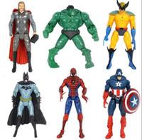 Wholesale Hot Pvc Doll - 6Pcs Lot The Avengers Action Figures Super Hero Hot Toy Children Doll Hulk Captain America Superman Batman Iron Man Gift
