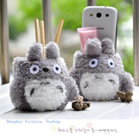 Wholesale Plush Dolls Case - Super Kawaii MY Neighbor TOTORO Plush Cover DOLL ; Phone Stand Holder Pouch Case RACK DOLL & School Desk Pen Toys Holder BOX