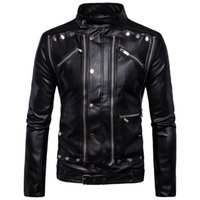 Wholesale Warm Leather Jackets For Men - High Quality Warm PU Jacket For Men Bomber Motorcycle Jacket For Men Multi Zippers Design Black Leather Homme Jacket Overcats M-5XL T170760