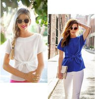 Wholesale Bow Blouse Xxl - Summer Fresh Style Womens Short Sleeve Slim Blouse Casual OL Lacing Bow Chiffon Shirt Plus Size S-XXL High Quality Women Gifts