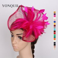 Wholesale Red Fascinator Headband - Sinamay fascinator hat women fascinator wedding feather headwear multiple colors avaliavle headbands formal fabric hair accessories SYF106