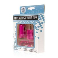 Wholesale Bling Usb - Micro USB 3-in-1 Hot Pink Bling Car charger adapter + Wall Charger Adapter + USB Cable for cell phone