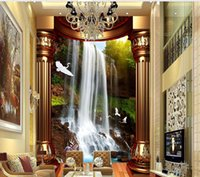 Wholesale Mural Definition - Beautiful creative high-definition waterfalls water 3D mystery mural 3d wallpaper 3d wall papers for tv backdrop