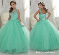 2017 Sparkly Mint Green Flower Girl Dresses Beaded Crystal Girls Dresses di paglia per gli adolescenti