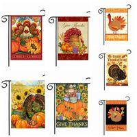 Wholesale flag turkey - Thanksgiving Garden Flag Banner Turkey Party Home Decor Outdoor Hanging Polyester Garden Flags Thanksgiving Day Decorations 30*45cm KKA2350