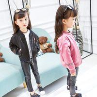 Wholesale Glossy Pants - 2017 New Autumn Children Girls Fashion Glossy Baseball Jacket + Stretch Slim Pants 2 pcs Sets Baby Girls Coat Clothes Suits