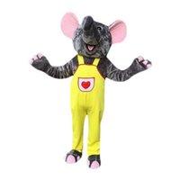 mascote dos desenhos animados do elefante venda por atacado-Gray Elephant Mascot Costumes Personagem de desenho animado Adulto Sz 100% Real Picture 009