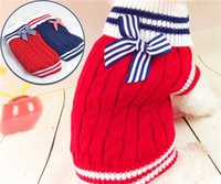 Wholesale Dogs Jumpers - Dog Sweater Pets Bowknot Pet Sweater Small Dog Clothes Puppy Clothing Warm Soft Cozy Cute Pet Dog Warm Jumper Sweater Clothes Knitwear Coat