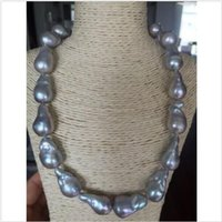 Wholesale Gray Baroque Pearls - stunning 20-25mmTahitian silver grey baroque Tahitian silver grey baroque Tahitian silver grey baroque pearl necklace 18 inch 925 silver