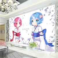 otel odaları için duvar kağıdı toptan satış-Japon anime Duvar Kağıdı Rem Ram Duvar resmi için Özel 3D Duvar Kağıdı duvar Kız Yatak Odası LivingRoom Otel Seishin Restoran Sevimli ...