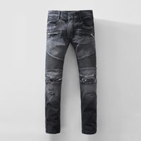 Wholesale Biker Designs - 2017 Men's Stylish Biker Slim Fit Straight Leg Stretch Brand Design Biker Jeans Pants With Broken Holes