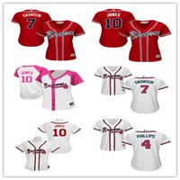 Wholesale Cheap Female Jerseys - Fashion Women's 7 Dansby Swanson 4 Brandon Phillips 10 Chipper Jones 5 Freddie Freeman Jersey Baseball Atlanta Braves Female Jerseys Cheap