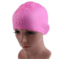 Wholesale Spandex Swimming Cap - Wholesale- Hot Sale Adults Women Waterproof Swimng Caps Badmuts Silicone Swimming Hat High Spandex Swiming Wear Hat