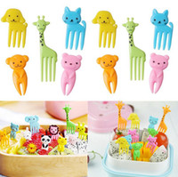 Wholesale Blue Desserts - Animal Farm Fruit Fork Mini Cartoon Children Snack Cake Dessert Food Fruit Pick Toothpick Bento Lunches Party Decor 10pcs set OOA2375