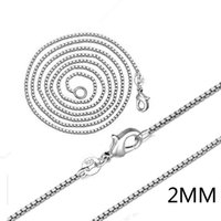 Wholesale 2mm Pearl Necklace - Silver Box Chians Hot Sale 2mm Link Chain Necklace for Women Girl Pendants Fashion Jewelry Wholesale Free Ship 0356WH