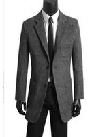 mens gri gündelik kıyafeti toptan satış-Koreli erkek giyim genç casual suit erkekler trençkot yün mont erkek palto abrigos de hombre gri artı boyutu S-9XL