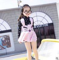 Wholesale Dress Girls New D - Girls swimsuit 2017 new girls long sleeve cute bunny dress swimwear kids spa beach swimsuit have swimming hats 2pc clothing sets T1547