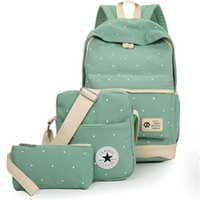 Wholesale Laptop Bags For Women Girls - Fresh Canvas Women Backpack Big Girl Student Book Bag with Purse Laptop 3pcs Set Bag High Quality Ladies School Bag for Teenager