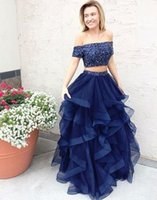 Wholesale Stylish Party Shirts - 2017 Stylish Navy Blue Two Pieces Prom Dresses Off-shoulder Tulle Ruched Tiered A Line Formal Evening Party Gowns Beading