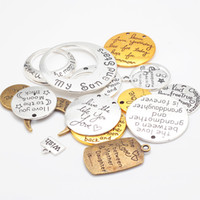 Wholesale Mix Pendant Cameo - Wholesale- Vintage Metal Cameo Mixed Alphabet Letter Charms for Jewelry Making DIY Handmade Letter Pendant Charms 15pcs lot C8750