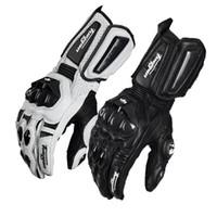 Wholesale Carbon Motors - FURYGAN AFS10 MOTOR GLOVES long full finger slip breathable leather motorcycle racing gloves black white color size M L XL