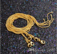 Wholesale Gold Snake Chain 1mm - wholesale freeshipping 20pcs lot 1mm 18K gold-plated snake chain bone chain high quality hot sell female gold jewelry chain birthday gift