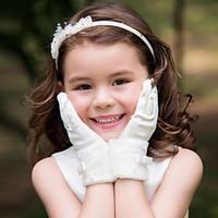 ingrosso accessori di cerimonia nuziale dei guanti della ragazza-Nuovo arrivo all'ingrosso Flower Girl's Dress Accessori Guanti da sposa Guanti Flower Girl Guanti in raso con Bowknot e perla